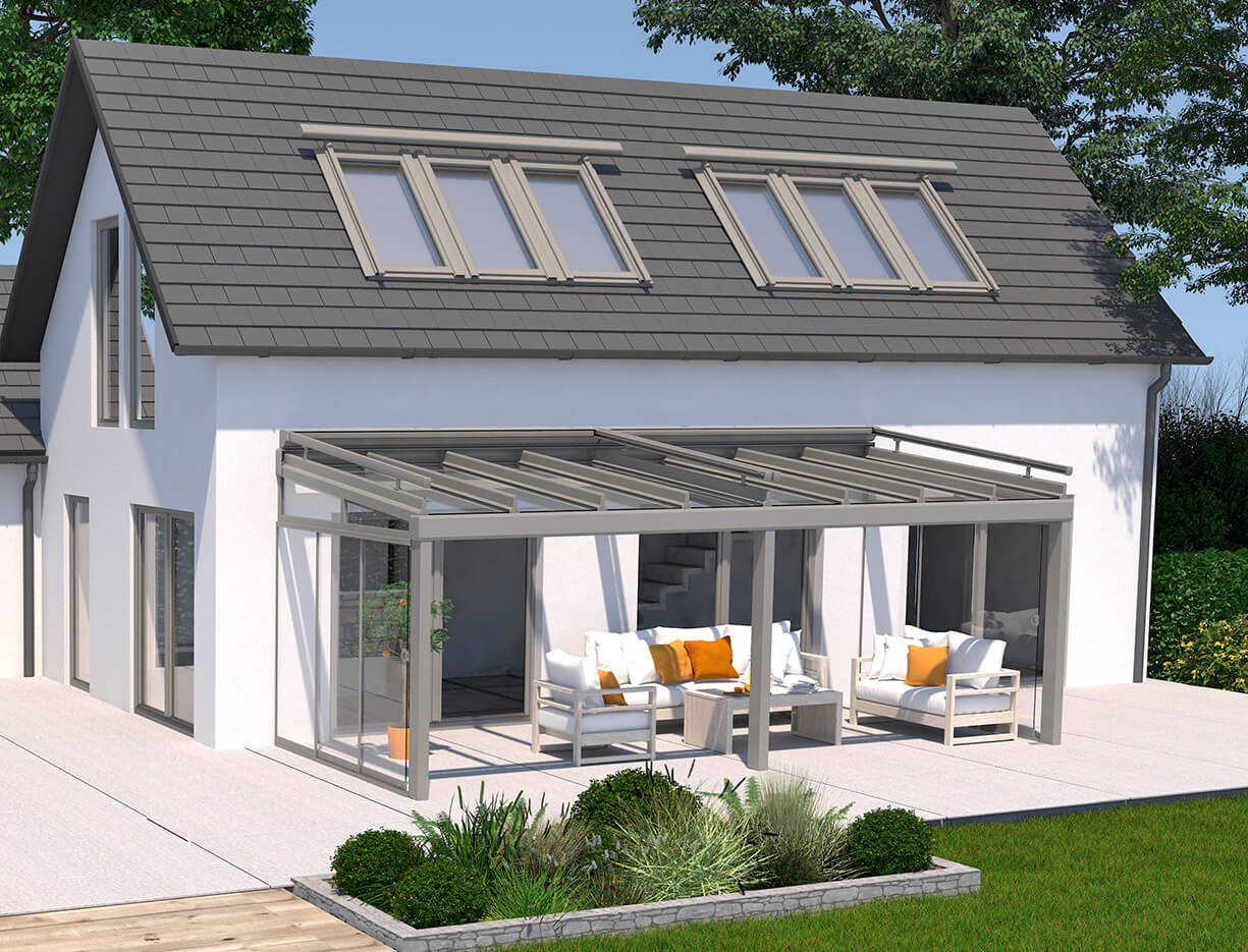 ERHARDT Terrassendach T100/ T150 INTEGRAL - Sicht von außen