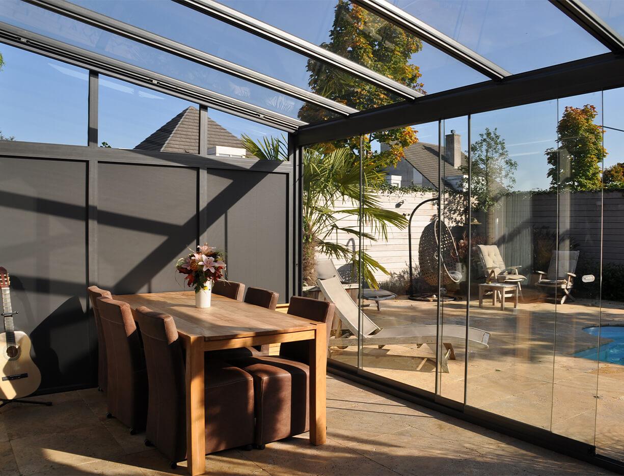 ERHARDT Terrassendach Festelemente - Sicht von innen