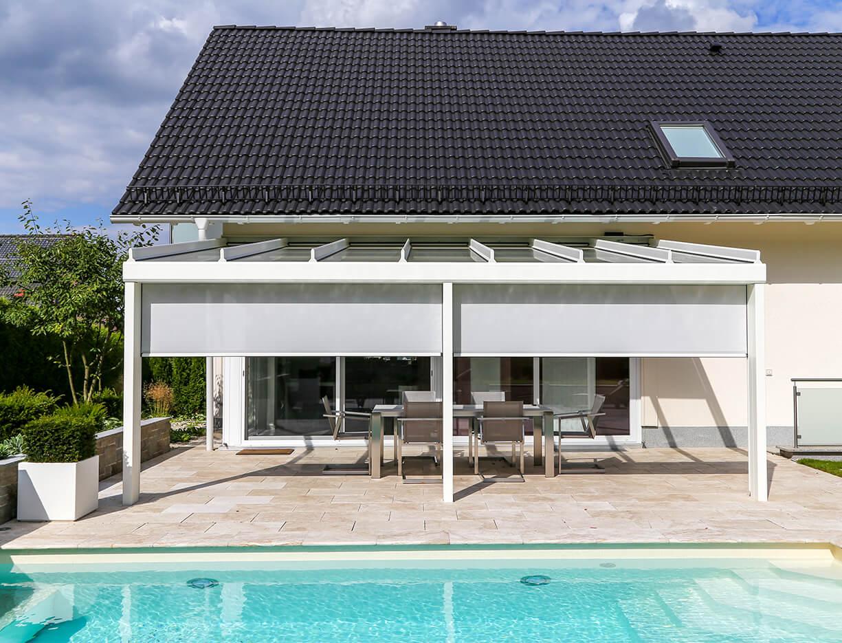 ERHARDT Terrassendach T100/ T150 INTEGRAL - Sicht von außen mit Doppelmarkise
