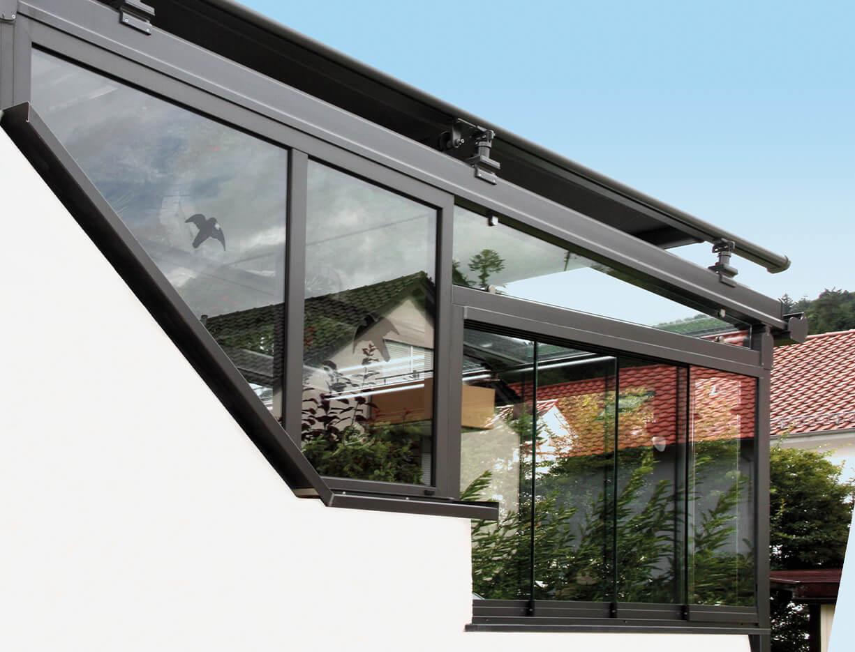 ERHARDT Terrassendach Festelemente - Sicht von außen