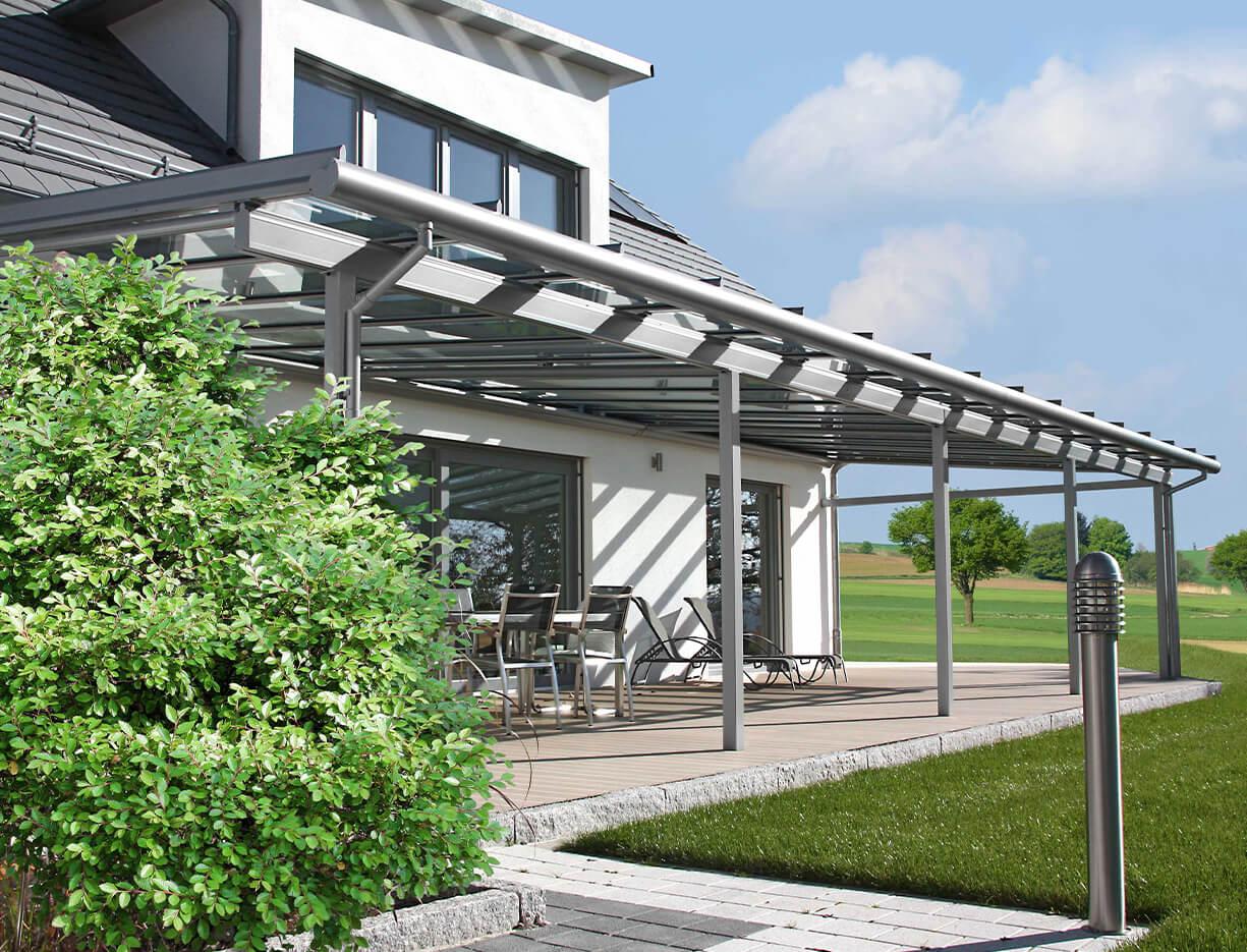 ERHARDT Terrassendach T100/ T150 - Sicht von außen