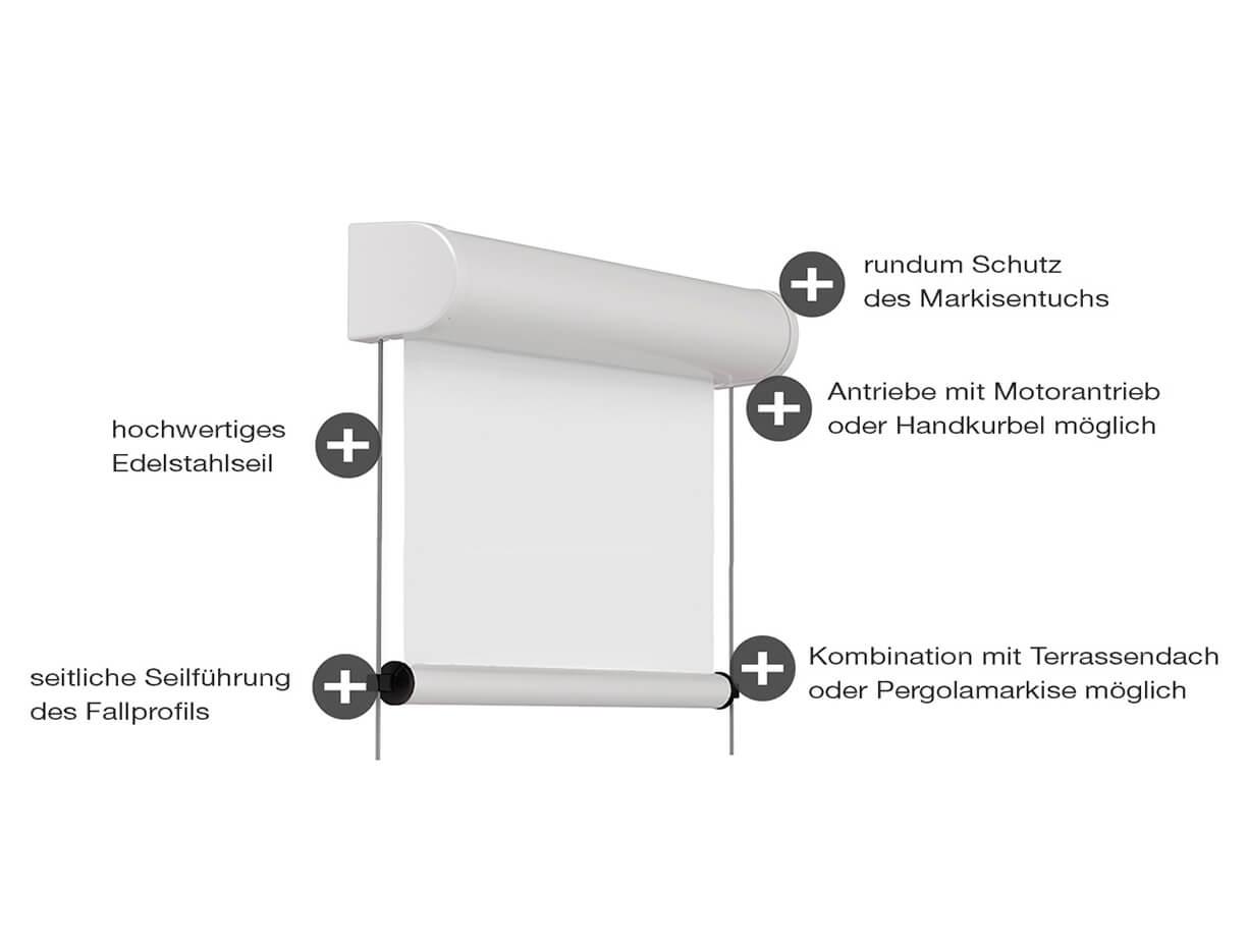 Senkrechtmarkise ERHARDT V-SH - Eigenschaften