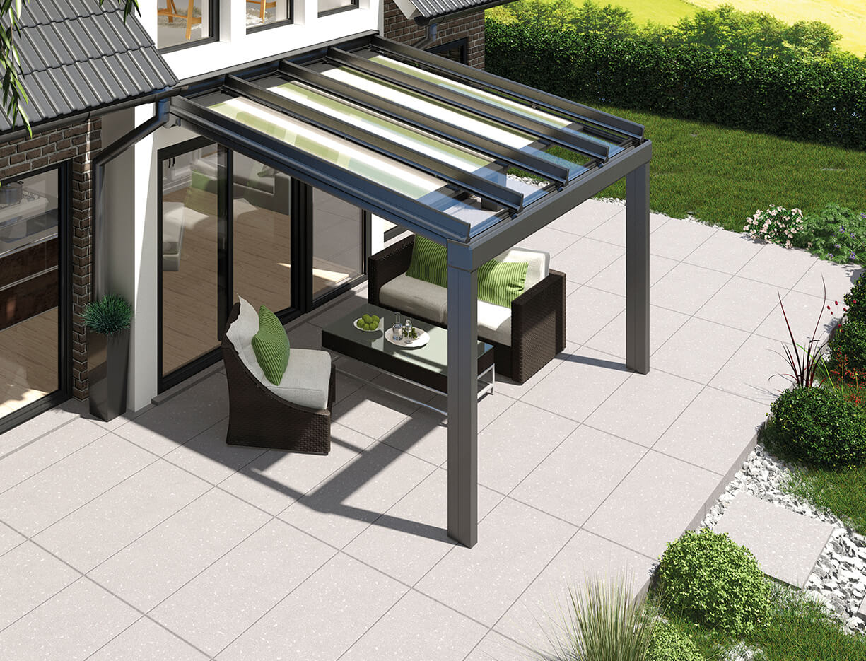ERHARDT Terrassendach T100/ T150 INTEGRAL - Sicht von außen mit Markise