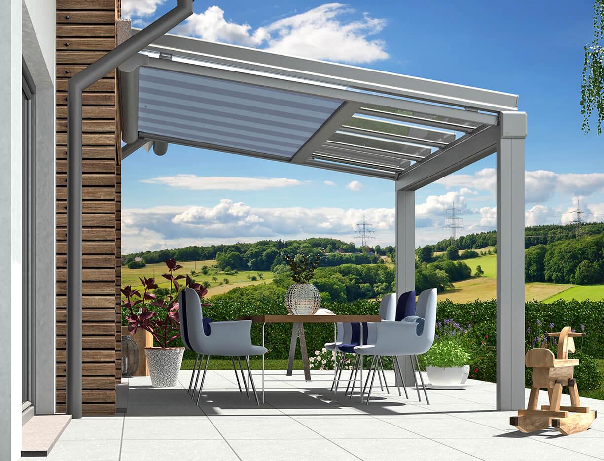 ERHARDT Terrassendach T100/ T150 INTEGRAL - Sicht von außen mit Festelement