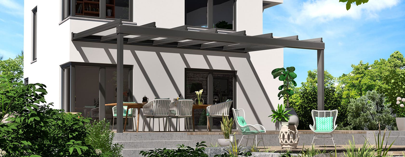 ERHARDT Terrassendach mit cubischen Sparren