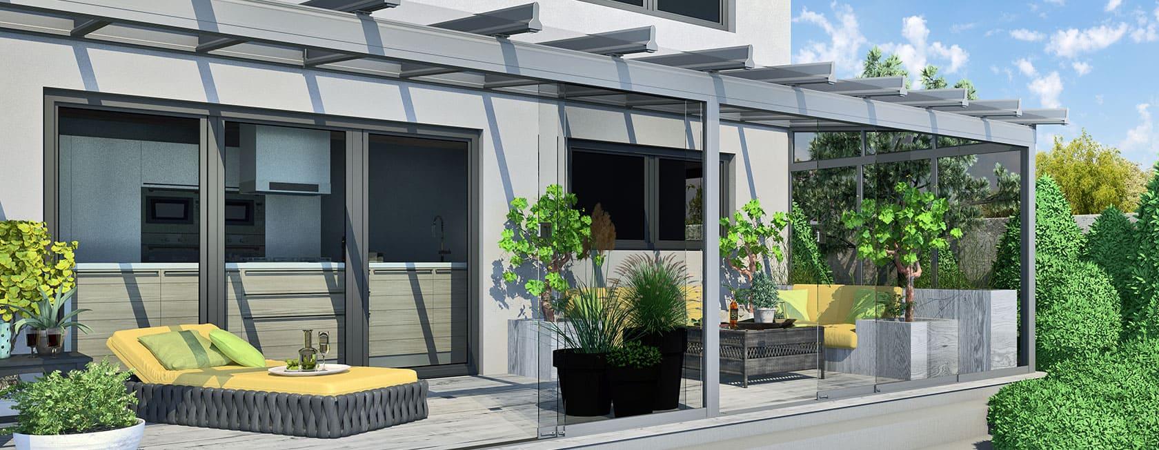 Ganzglas Schiebeelemente für jedes Terrassendach